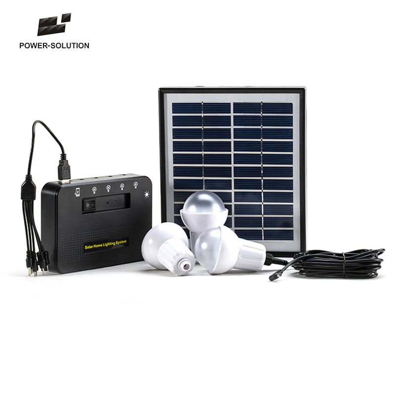 Hot Item 4w Portable Solar Led Light System For Home With 2pcs Lights