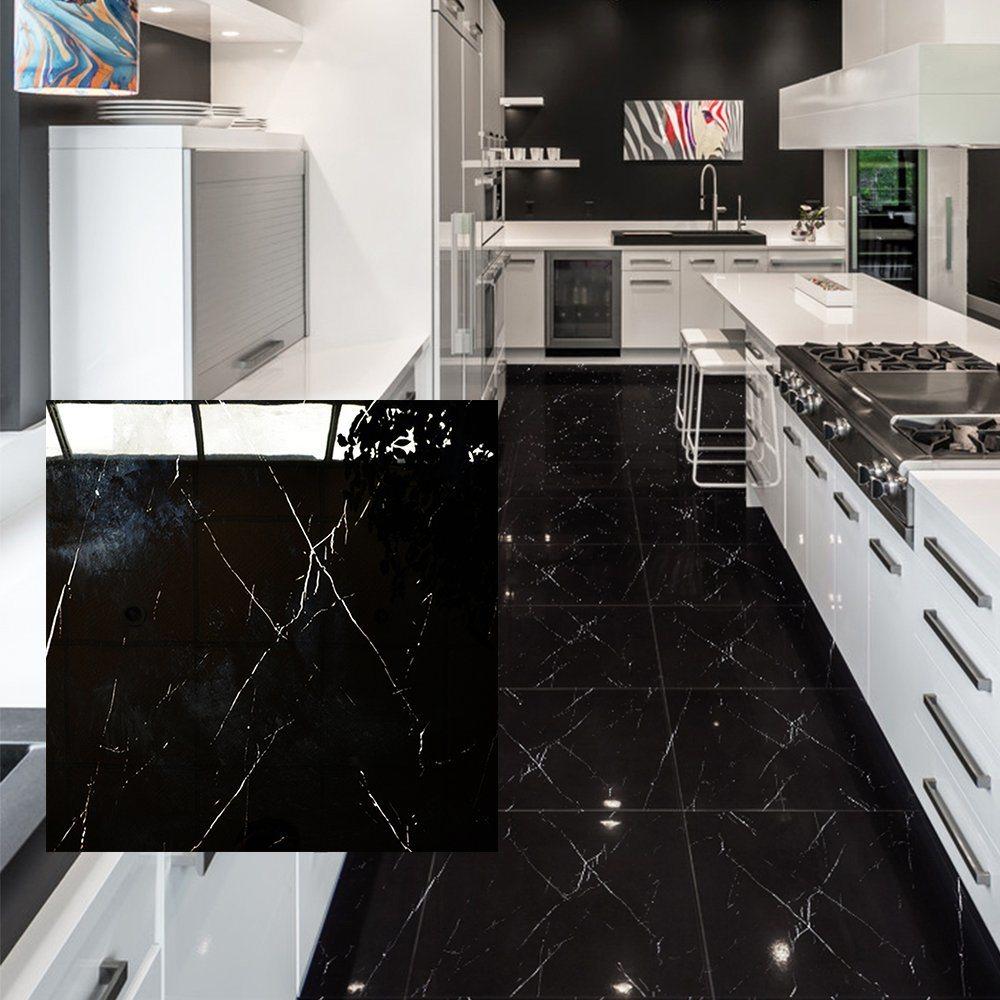 Floor Black Porcelain Tile 12x12