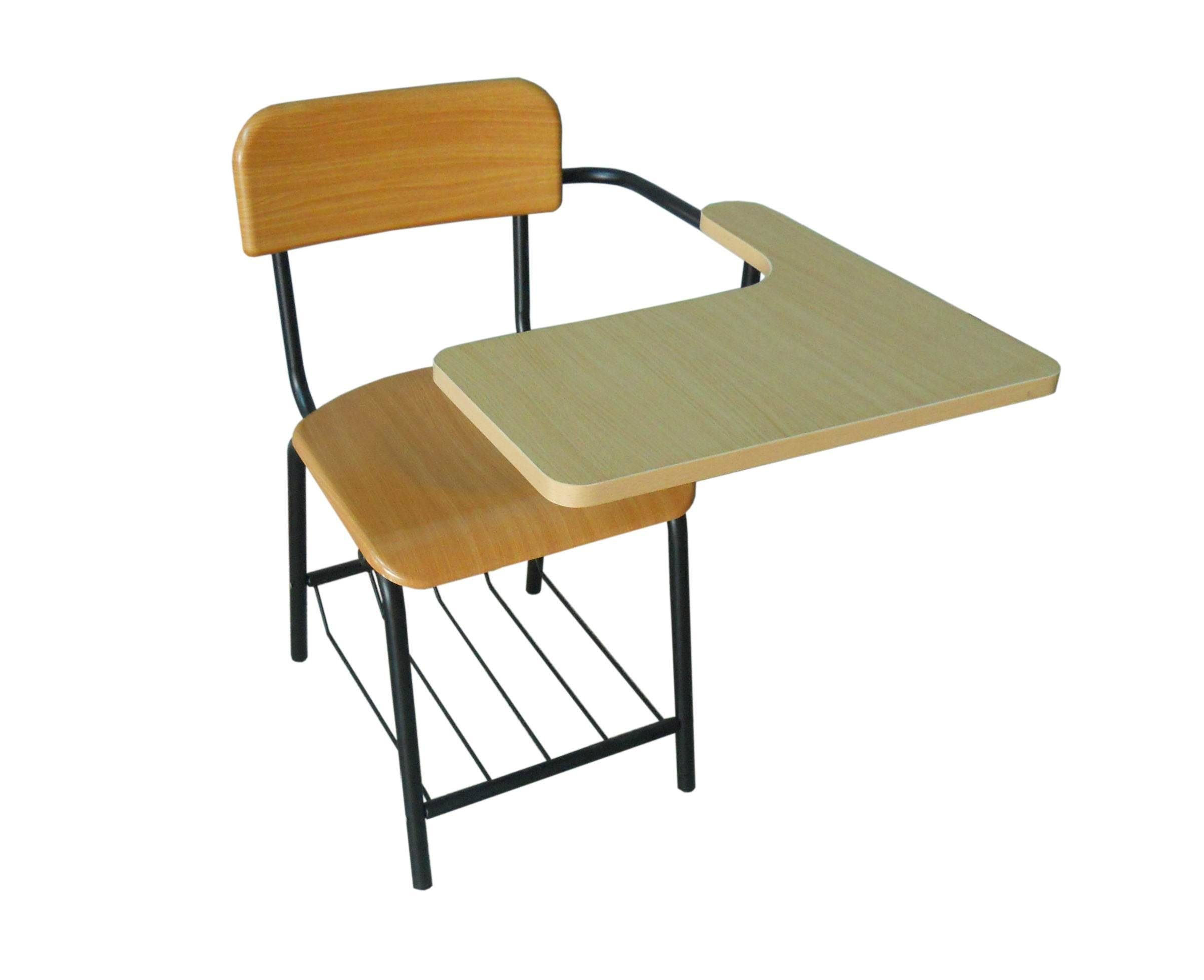 China Student Chair with Writing Tablet and Bookshelf