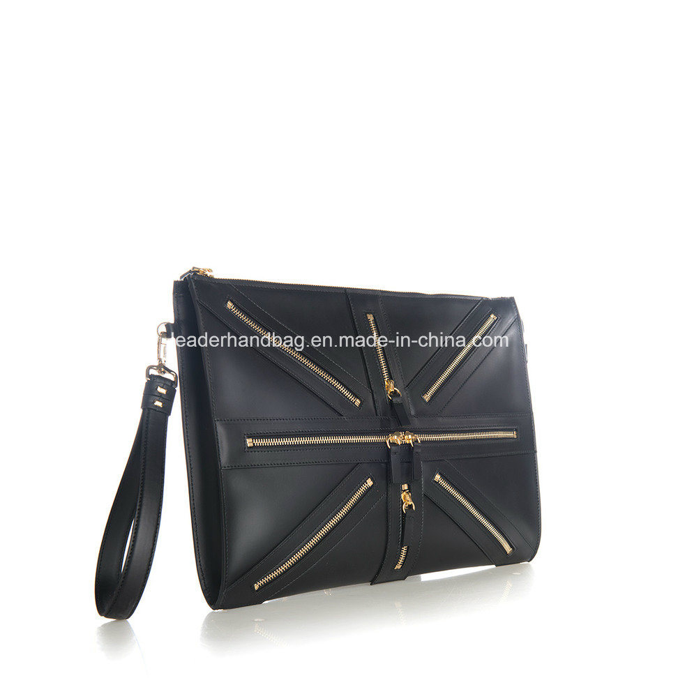 Unisex PU Genuine Leather Decorative Chain Purse Clutches Leather Handbags (LDA-016)