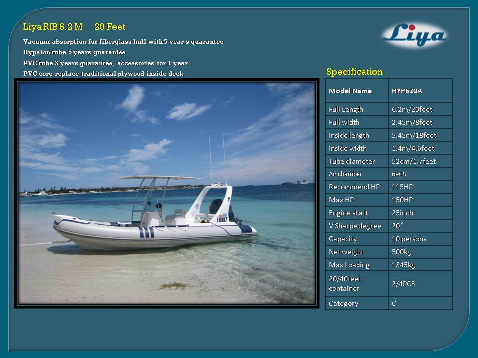Liya 20 Feet 10 Persons Safety Hypalon Inflatable Rib Boat for Sale