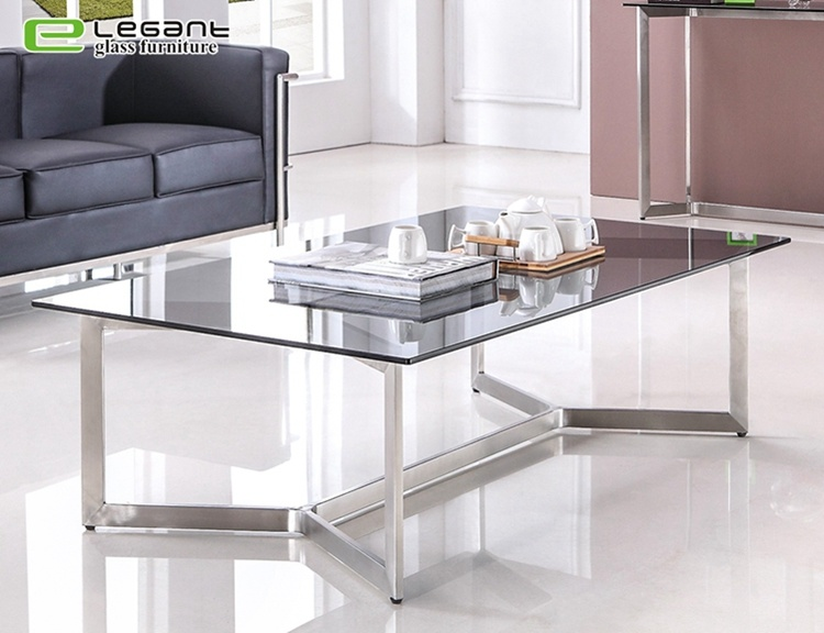 China Modern Design Stainless Steel Coffee Table With Black Glass