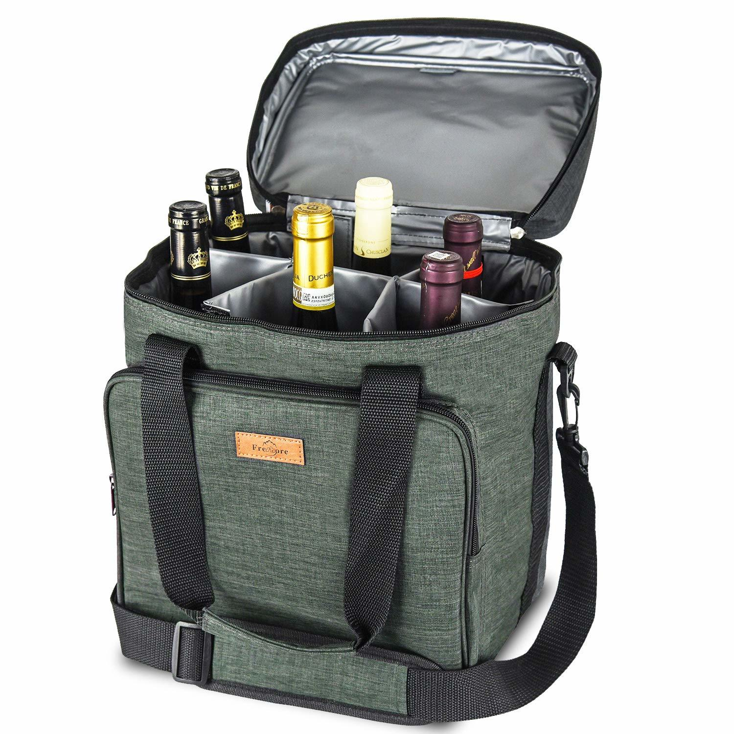 Premium Insulated 6 Bottles Wine Carrier Tote Bag