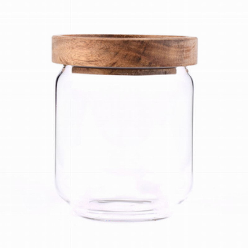 China Mouth Blown Small Candle Glass Cookie Containers Spice Honey Jar Glass With Wooden Lid China Glass Bottle And Glassware Price