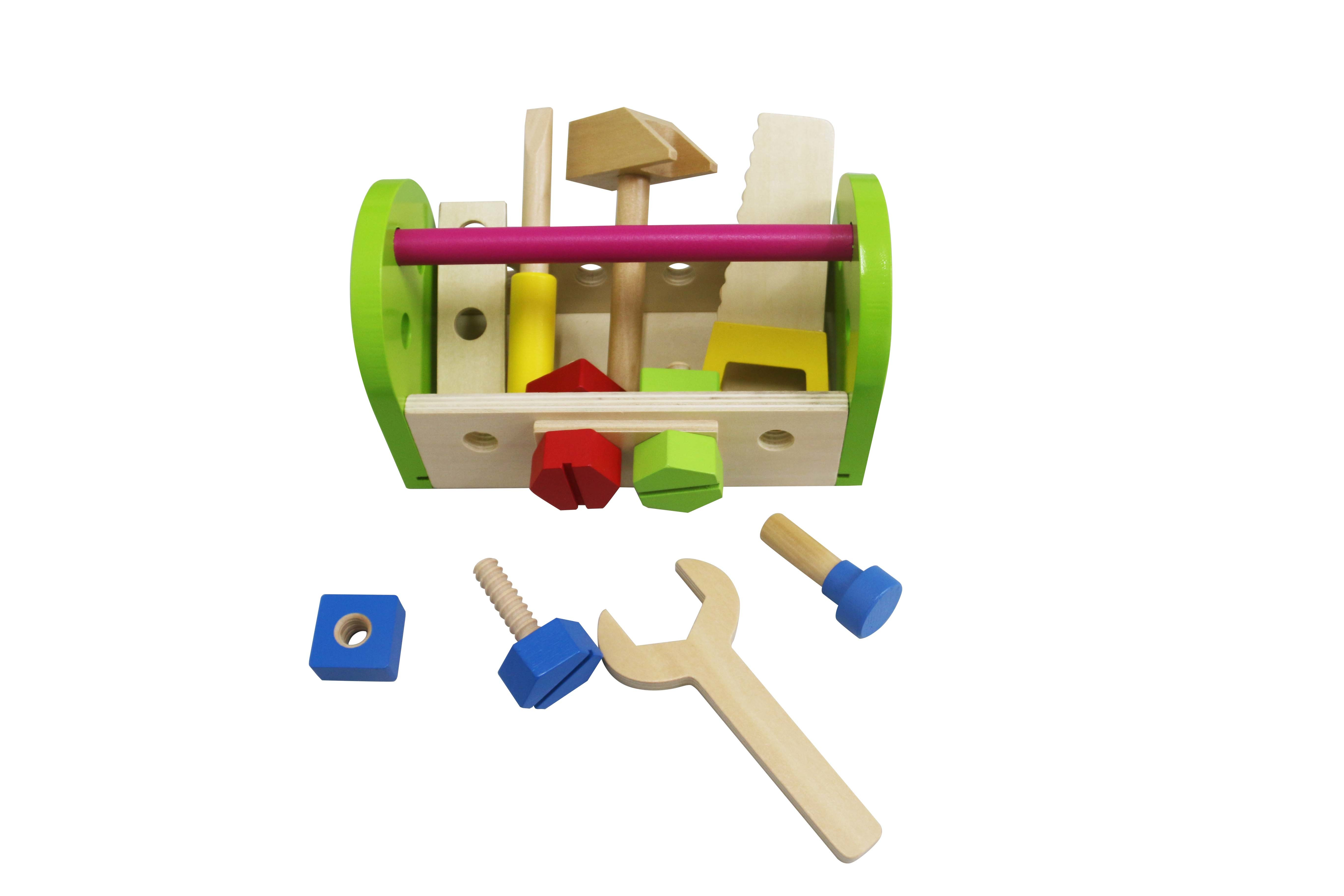 DIY 13PCS Wooden Tool Box Set Toy for Kids and Children