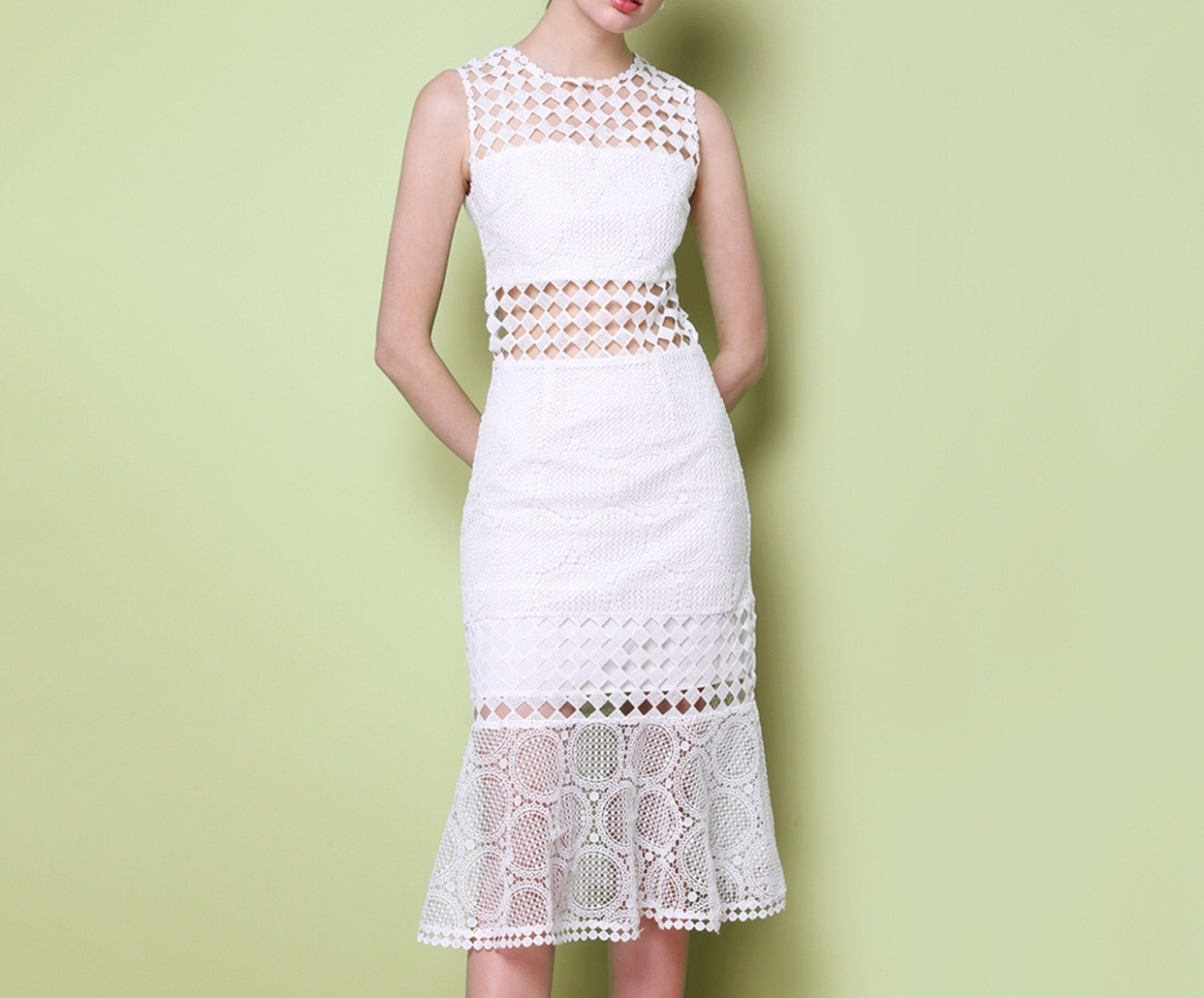Pure White Long Couture Geometrical Pattern Fishtail Ladies Dress