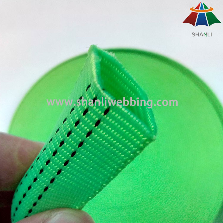 25mm Lime Green Polyester Nylon Tubular Webbing with 3 Tracer Thread