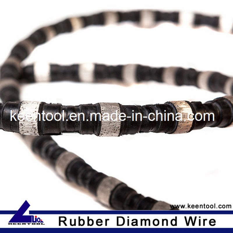 Rubber+Flat Spring Reinforced Diamond Wire Saw with 10.5mm Diameter Sintered Beads for Cutting Steel and Cast Iron
