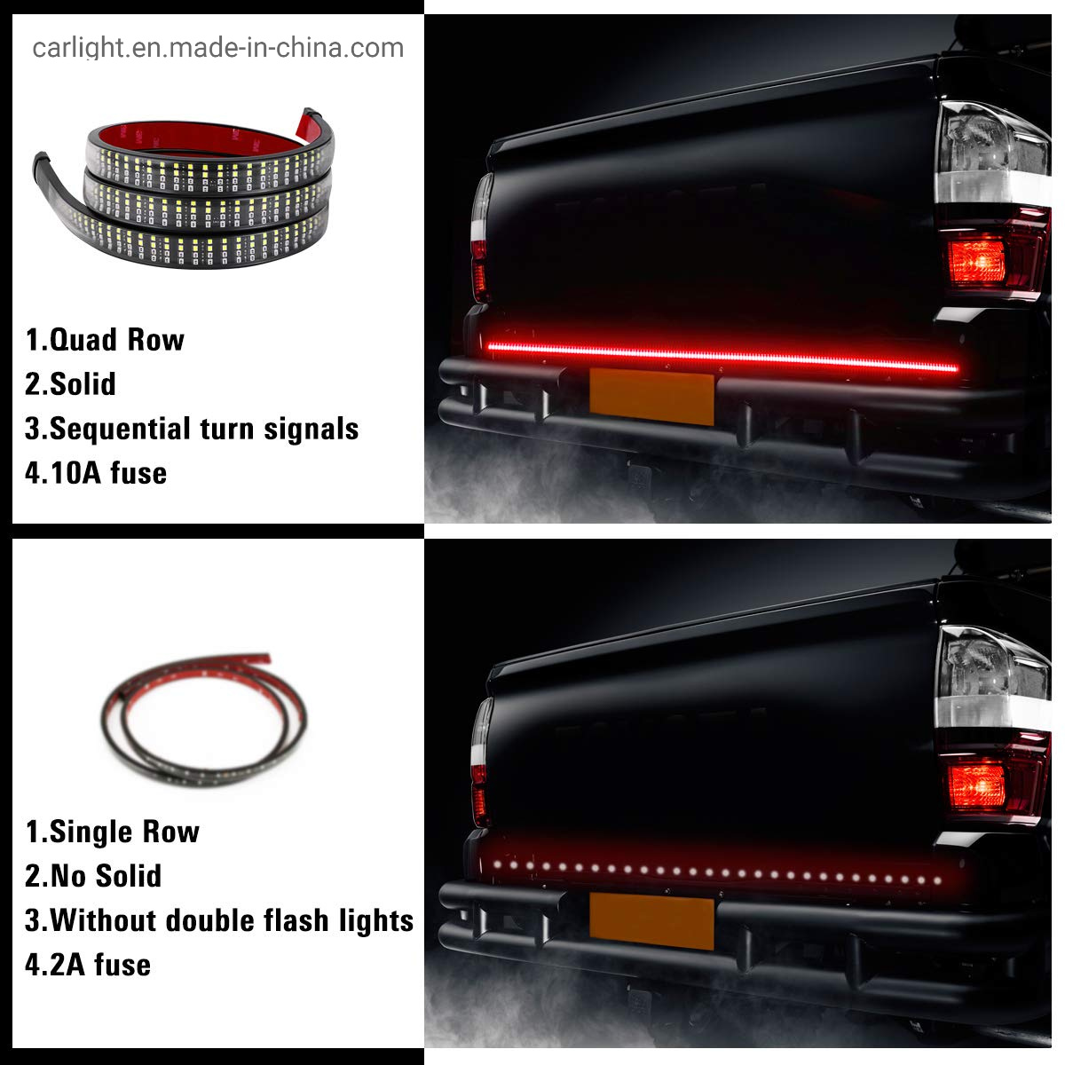 60 Inches Tailgate Light Bar Double-Row LED Light Strip Brake Running Turn Signal Reverse Tail Lights for Trucks Trailer Pickup Car RV VAN Jeep Towing Vehicle,Red White,No-Drill