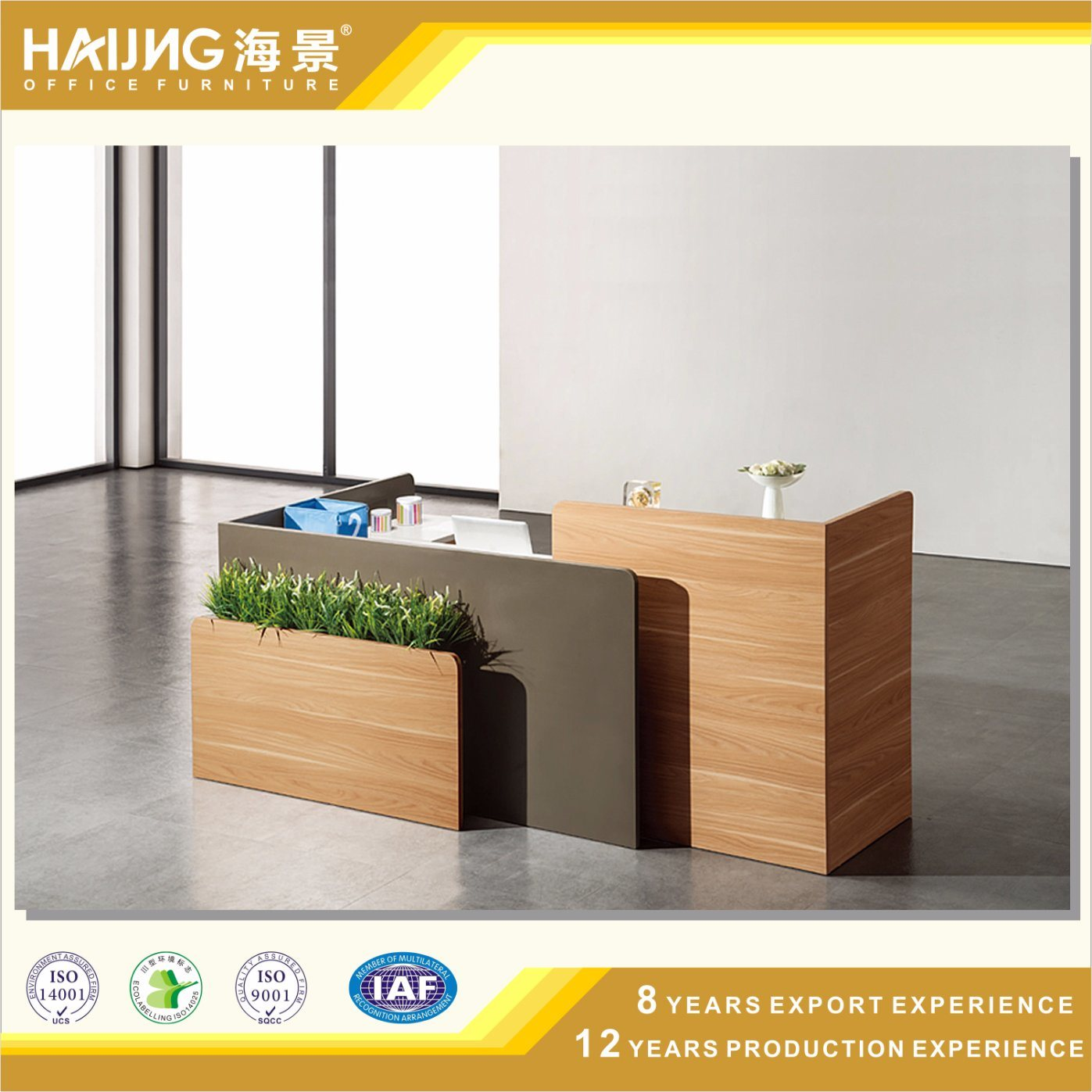 China L Shape Wood Veneer Reception Table Mdf Office Front Desk