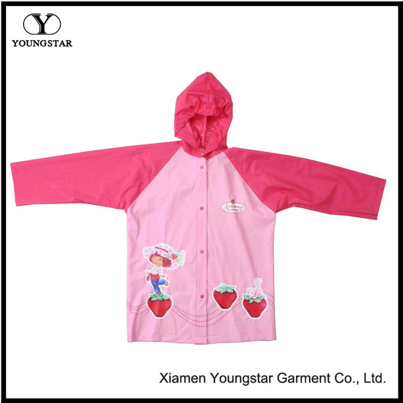 Customize Design PVC Rain Jacket with Hood for Kids