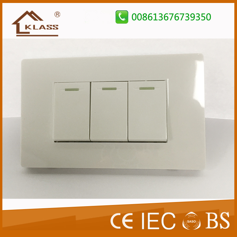 China Three Lever One Way Two Way Push Button Wall Switch - China ...