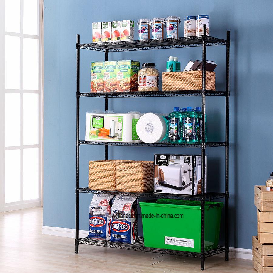 China 5 Tier Home Food Pantry Storage Organizer DIY Metal Wire Rack ...