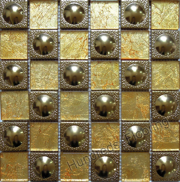 Glass Mosaic, Gold Stainless Steel Metal Mosaic (SM200)