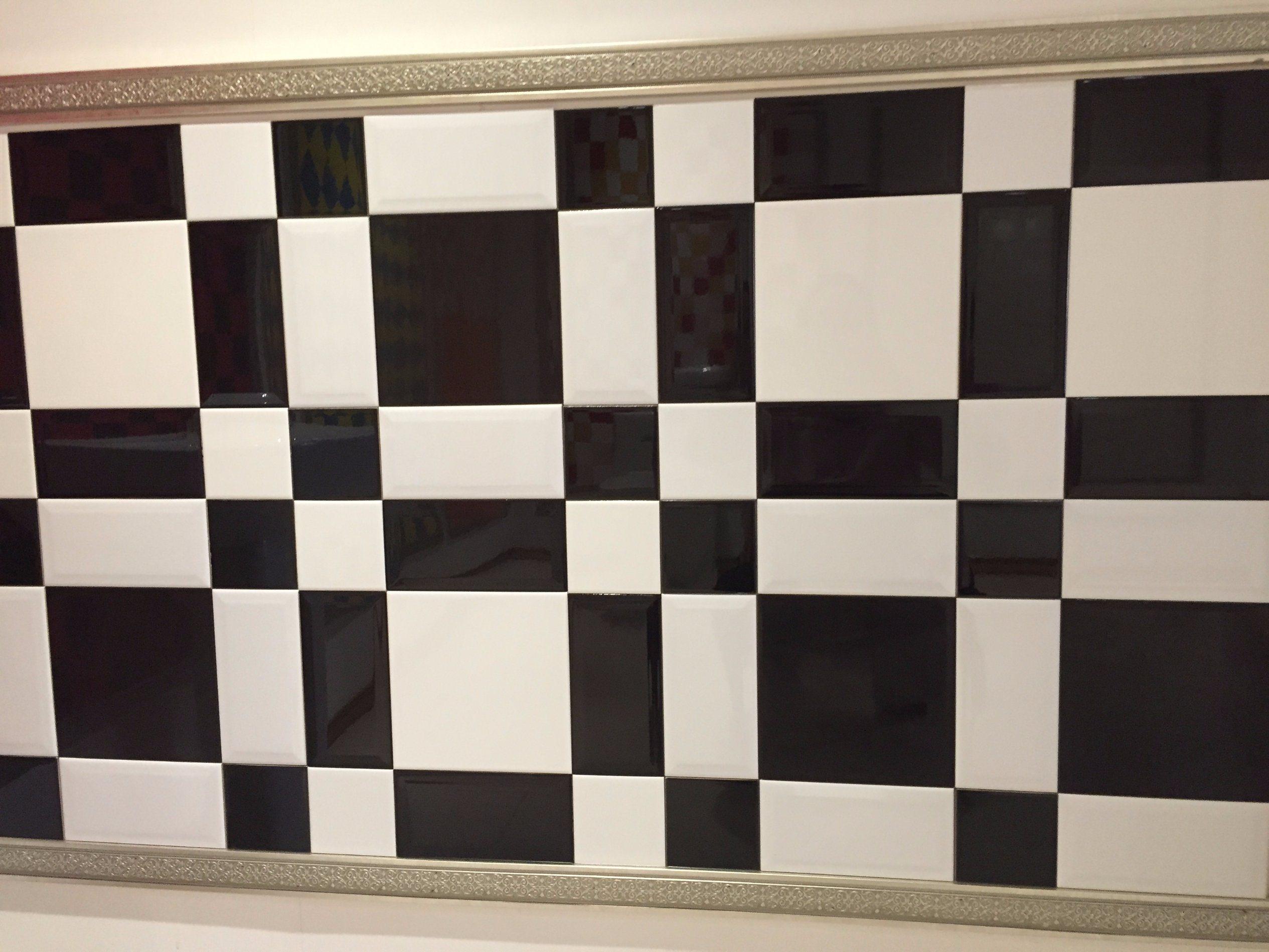 China 3x675x15cm Black Glossy Bevel Subway Tiles For Kitchen