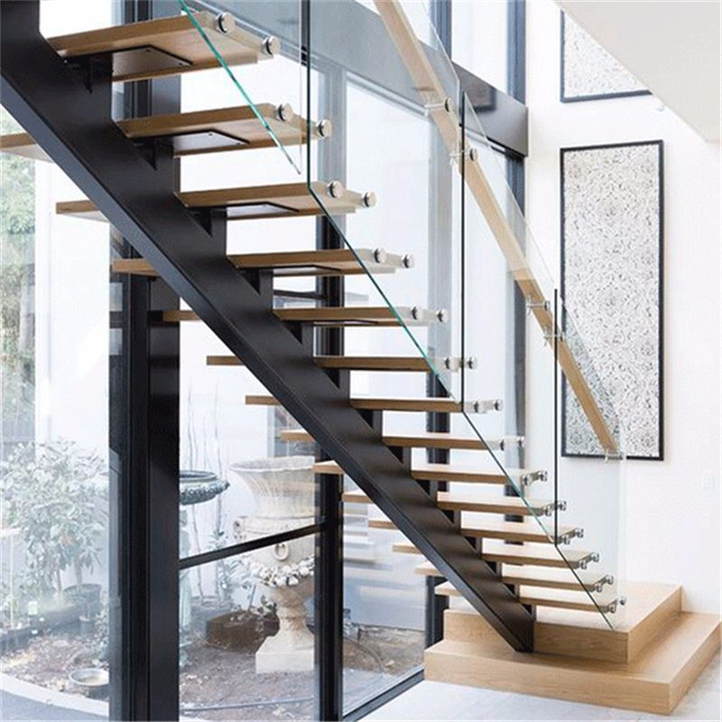 Prefab Steel Wood Straight Staircase With Glass Stair Railing Interior
