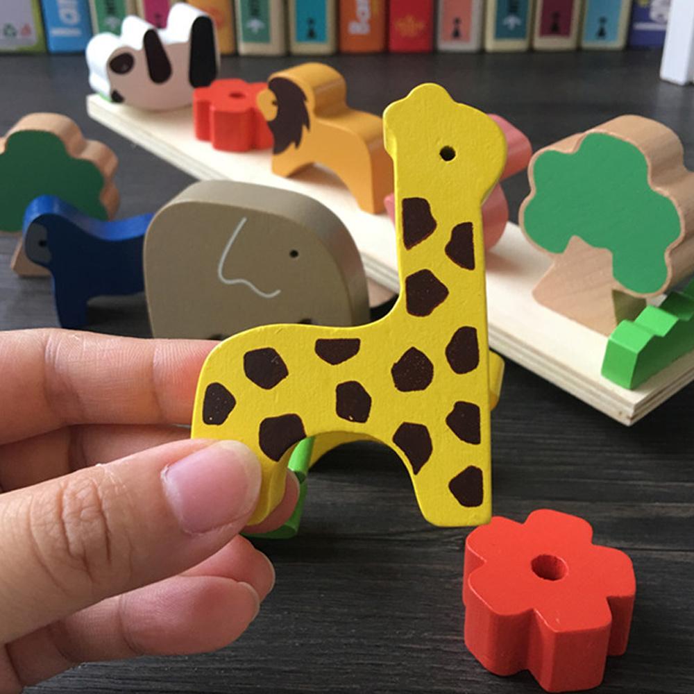 Wooden Jigsaw Giraffe Animals Block Kid Puzzle Tetris Game Kids Educational Toys