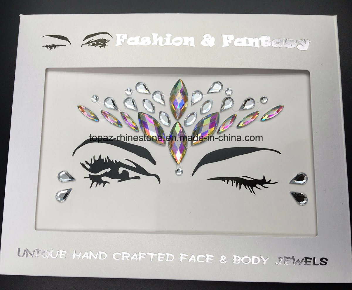 Popular Halloween Rhinestone Skin Christmas Party Eye Stickers White Studs  Body Jewels Colored Crystal Face Stickers (FS14)