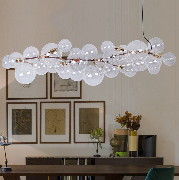 Hot Item Modern Led Decoratvie Clear Round Ball Gl Bubble Chandelier