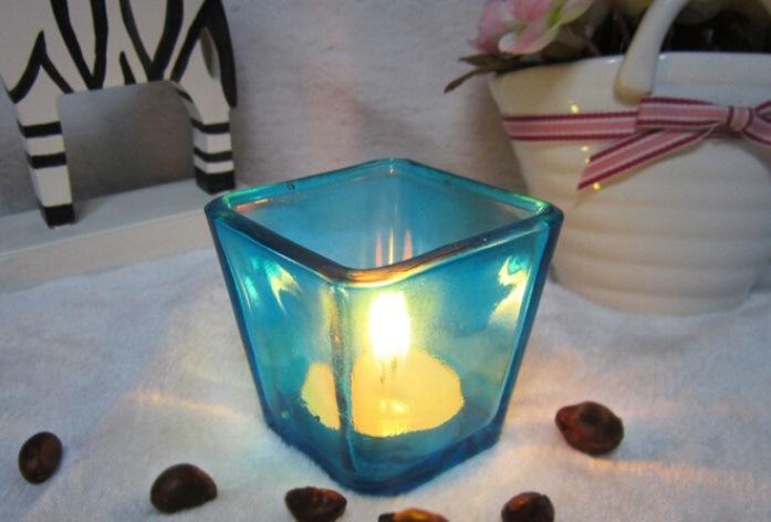 Free Sample Square Tea Light Glass Candle Jar For Home Decor