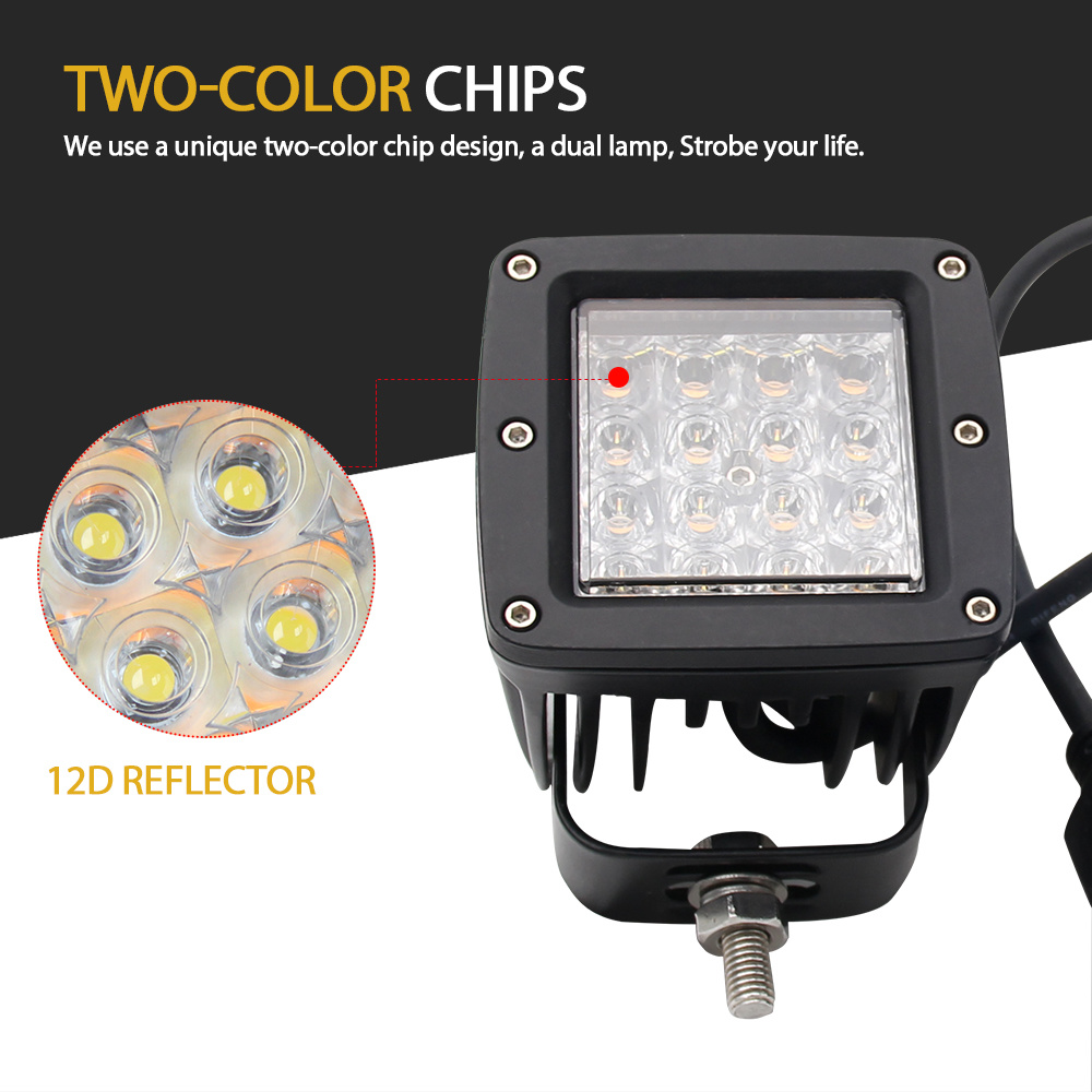 Wholesale Super Bright High Power Portable Dual Color Strobe Light Warning  For Jeep Motorcycle 3 Inch 72W LED Work Light Bar