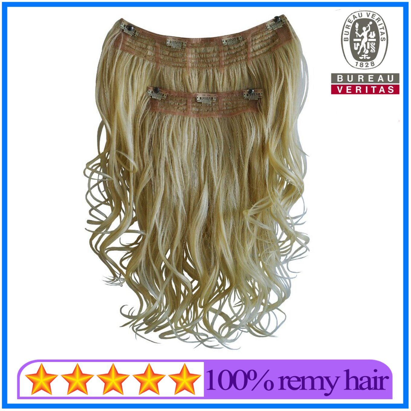 China 18 Inch Blond Color Clip Hair Extensions Brazilian Remy Human