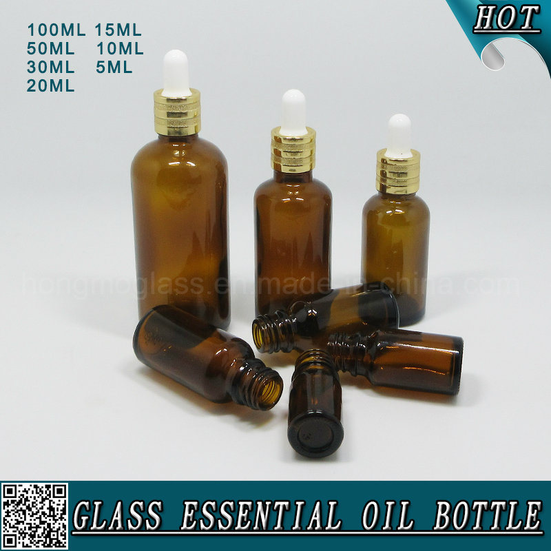 Amber Cosmetic Glass Dropper Bottles for Essential Oil pictures & photos