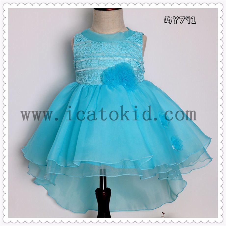 China European Style Girls Puffy Evening Dress Flowers Kids Formal ...
