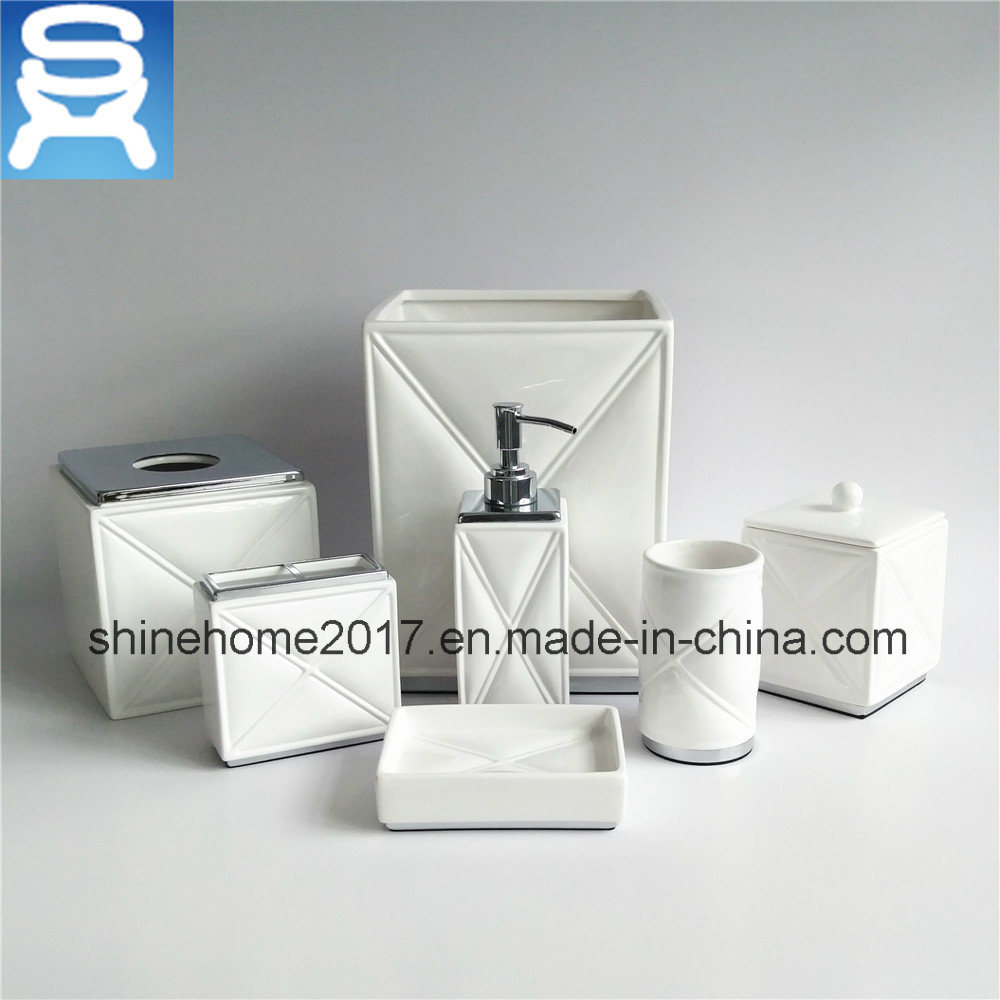 Chrome Finish and Porcelain Hotel Bathroom Accessories Set
