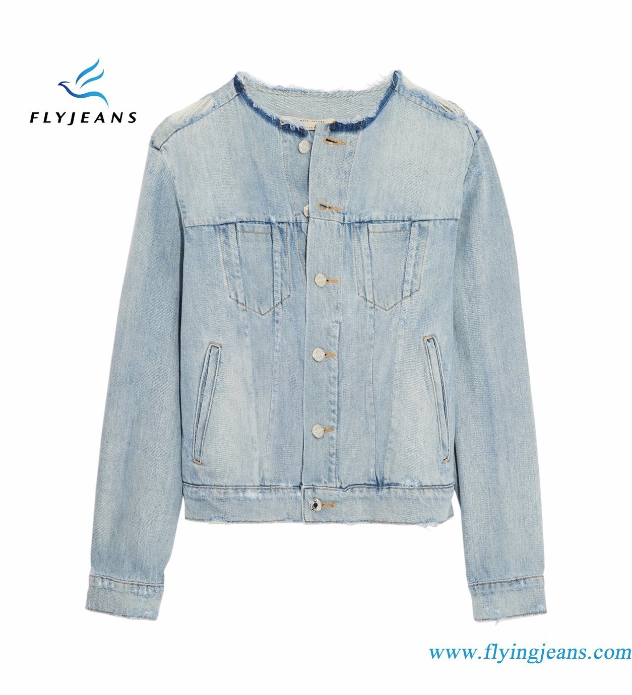 bbfa96a89c China Women Sky-Blue Icon Denim Jacket with 100% Cotton Distressed Enzyme  Bleach Vintage Washes - China Lady Jeans Clothes