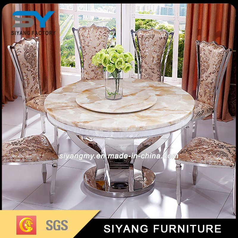 Hot Item Italian Dining Room Furniture Set Marble Table And Chairs