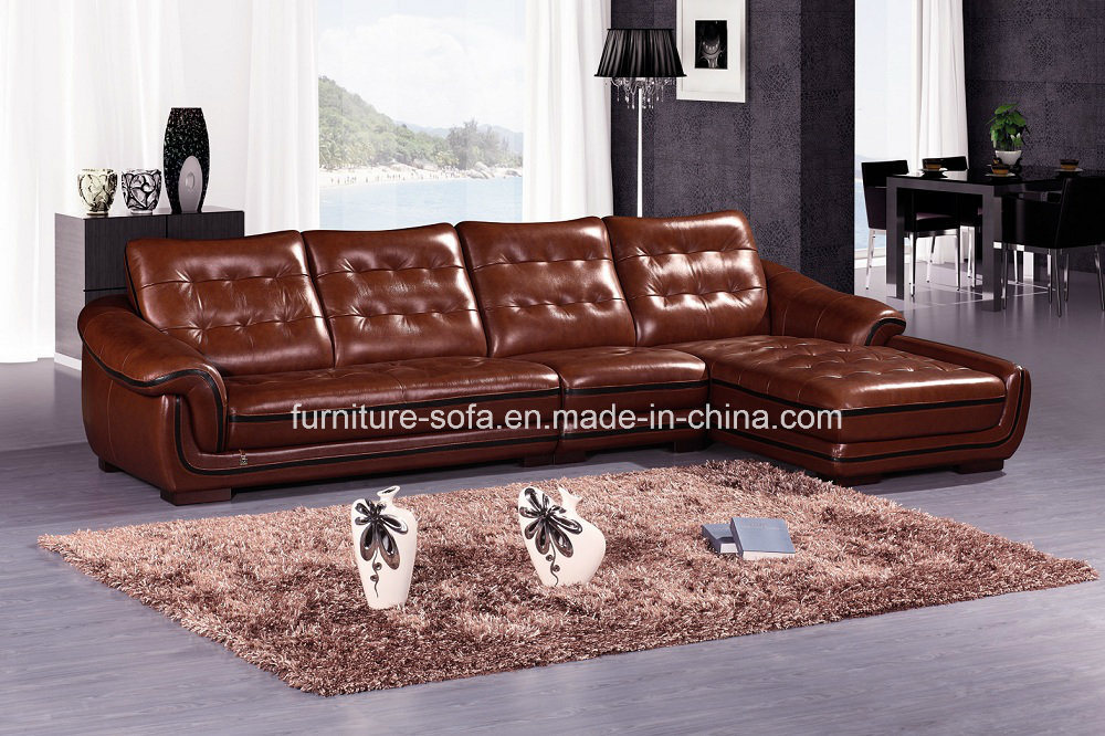 Furniture Low Back Leather Corner Sofa