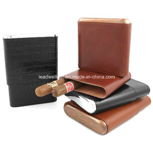 Brown Italian Leather Cedar 5 Cigar Case Copper Accent