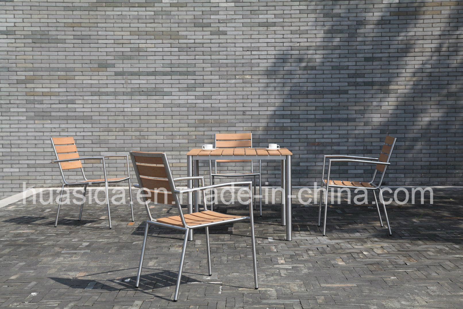 Outdoor Furniture Restaurant 4-Seats Stainless Steel Table Set