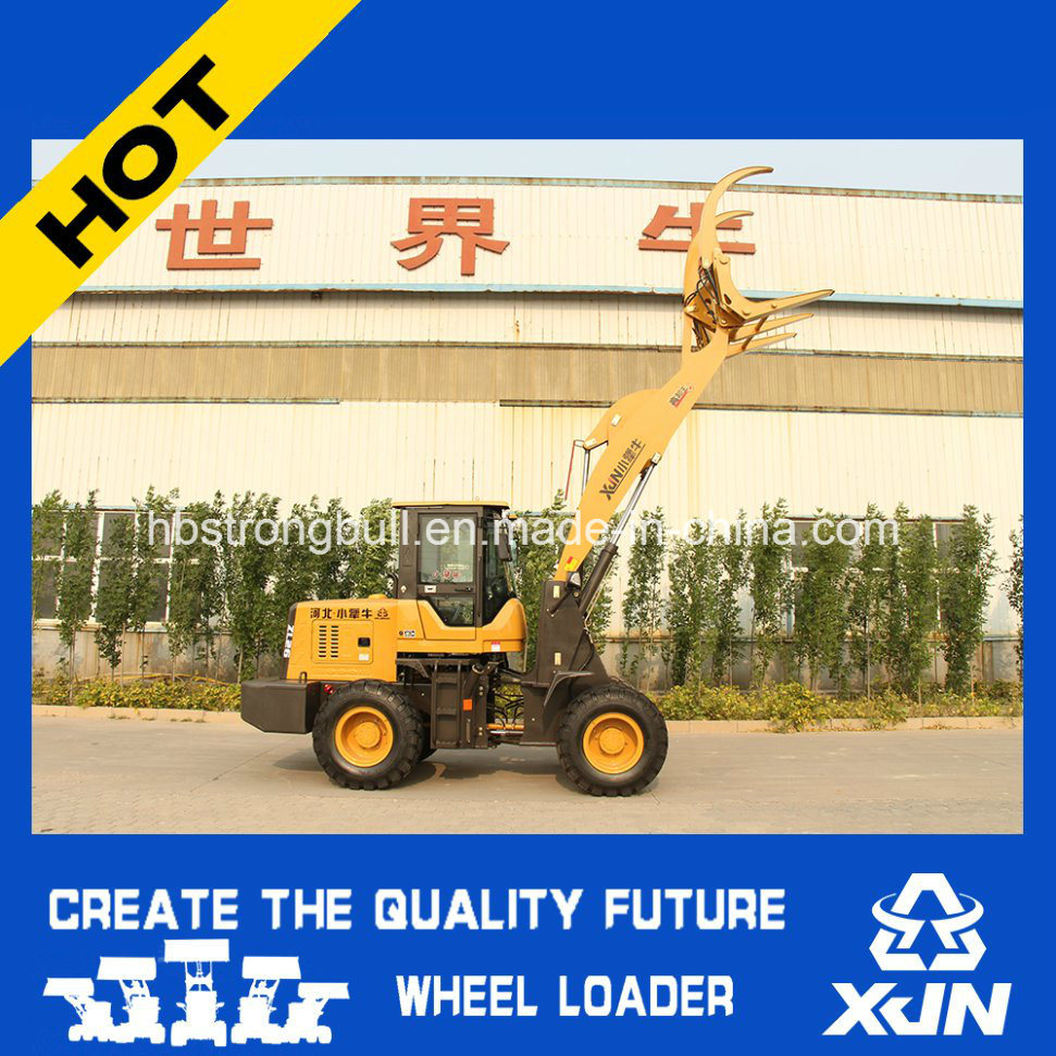 1.5ton with 4.5m Dumping Height Grass Grapple Wheel Loader Mini Loader Zl26 pictures & photos