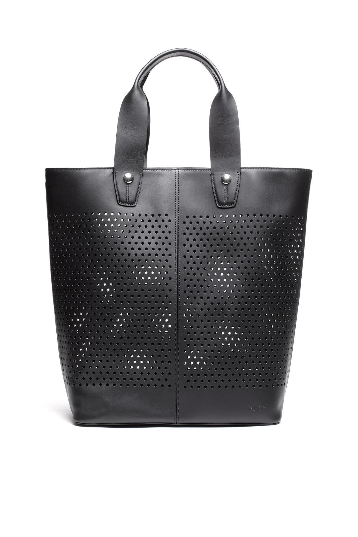Tote Bags Black Perforated Handbags