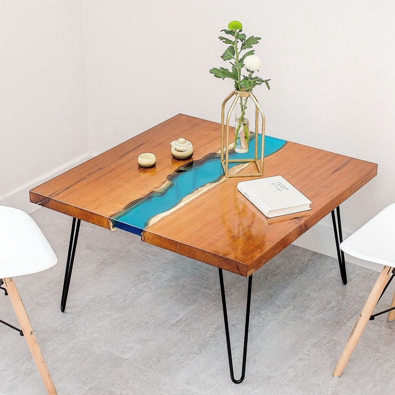 Hot Item Wooden Slab Table Top Solid Wood River Dining Epoxy Resin