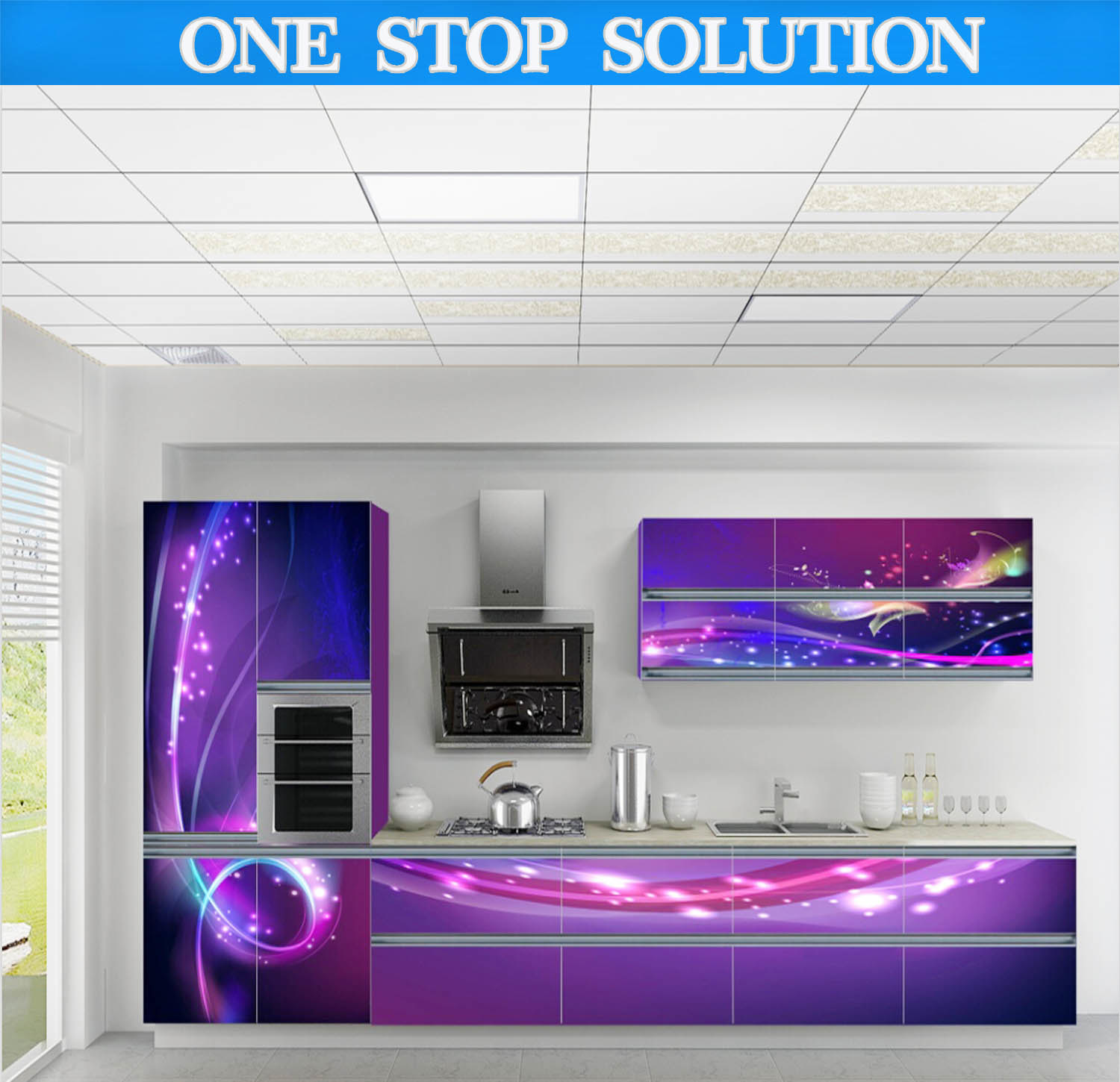China Island Style Kitchen Cabinet (3D High Indefinite Print Panels ...