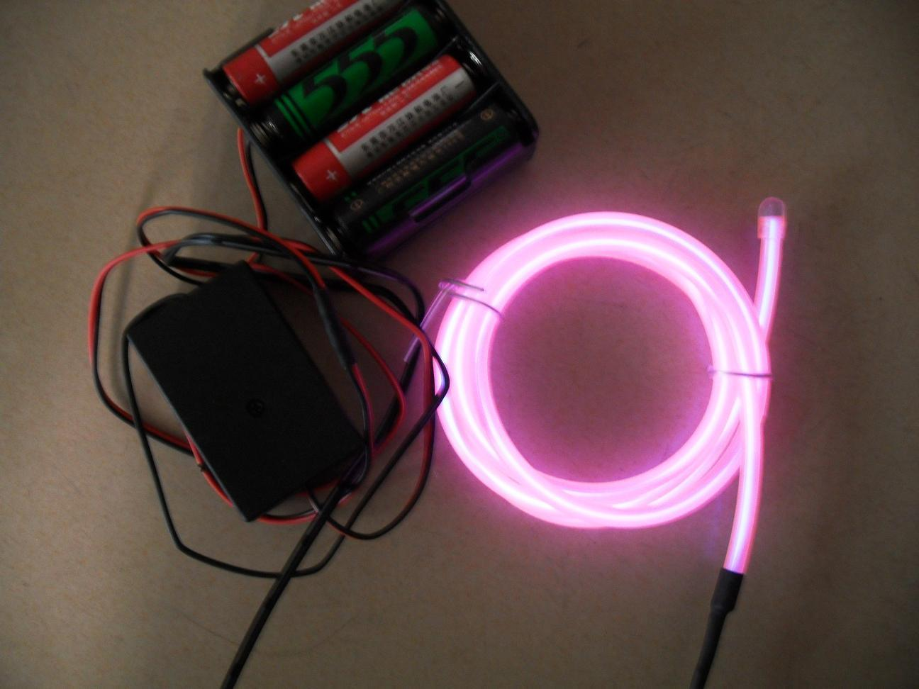 China moving el wire set power by aa batteries pack pink