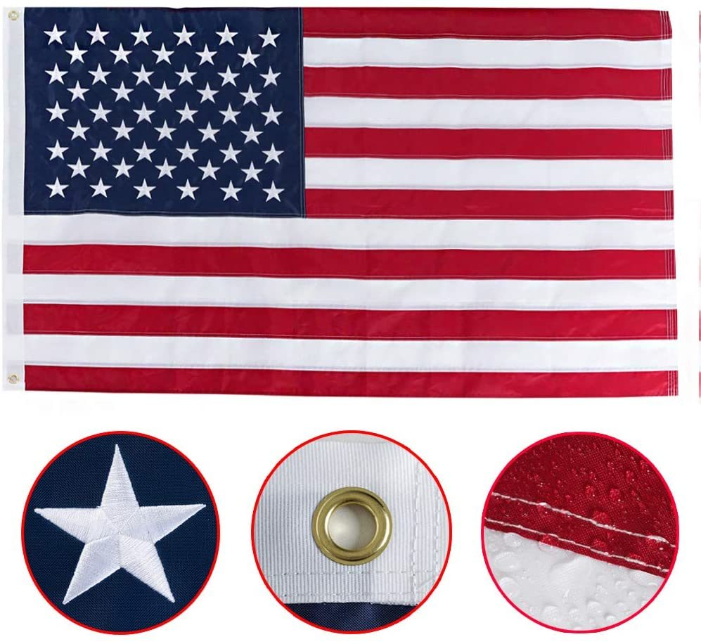 3x5 US American Flag USA Stars Embroidered Stripes Sewn Grommets Nylon Durable