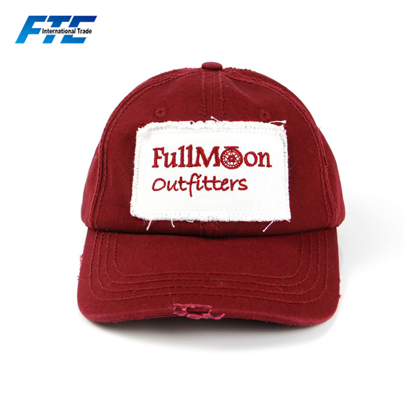 824a13989285a OEM Embroidery Patch Unstructured Dad Hat Custom Distressed Baseball Cap
