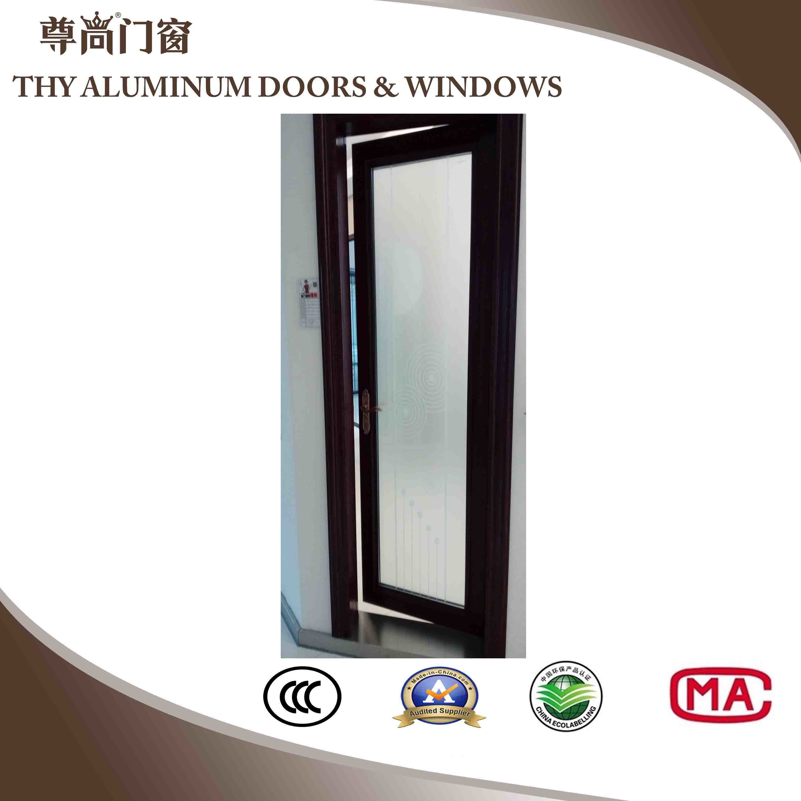 China Aluminum Casement Door With Frosted Glass Tinted Glass