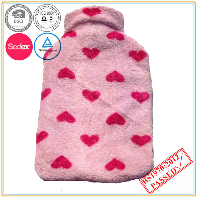 Heart Design Hot Water Bottle Cover