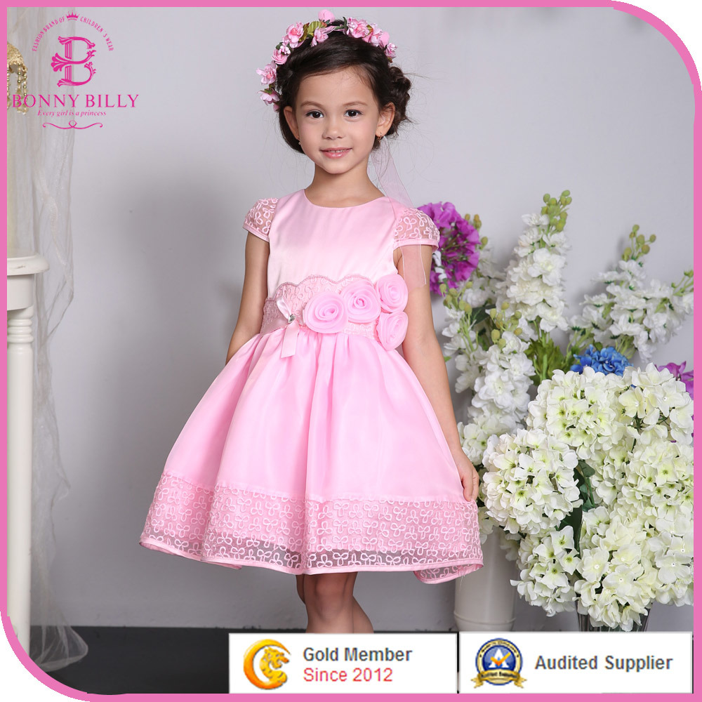 China Pink Satin Girl Wedding Dress, Children Party Dress with ...