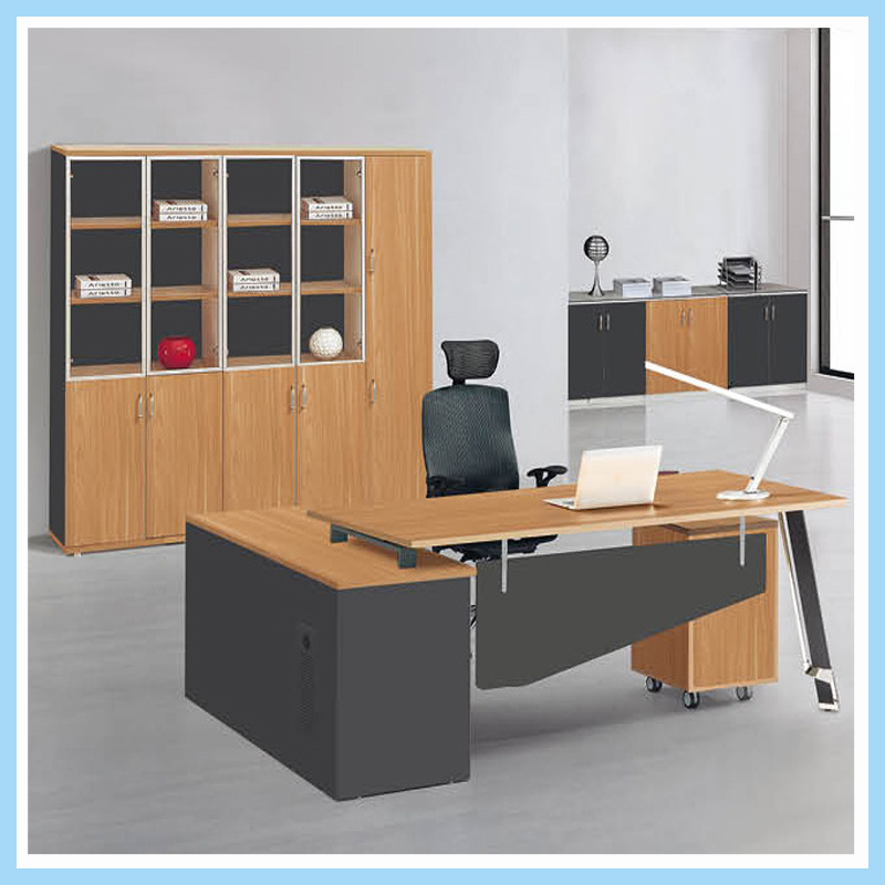 China New Design Office Staff Computer Table Wooden L Shape Working Desk Furniture