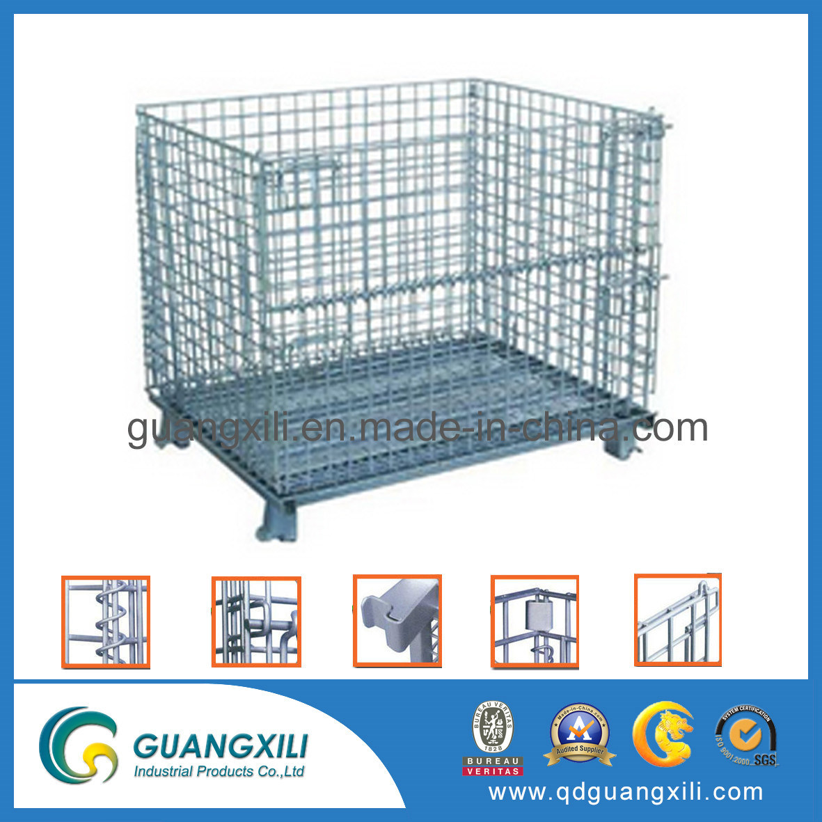China Collapsible Metal Durable Wire Mesh Basket with Wheels Photos ...