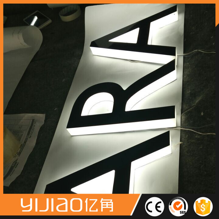 3D Channel Letters Stainless Steel LED Halo Backlit Sign L