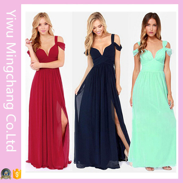 [Hot Item] Customized Trendy Plus Size Women Navy off Shoulder Maxi Dress
