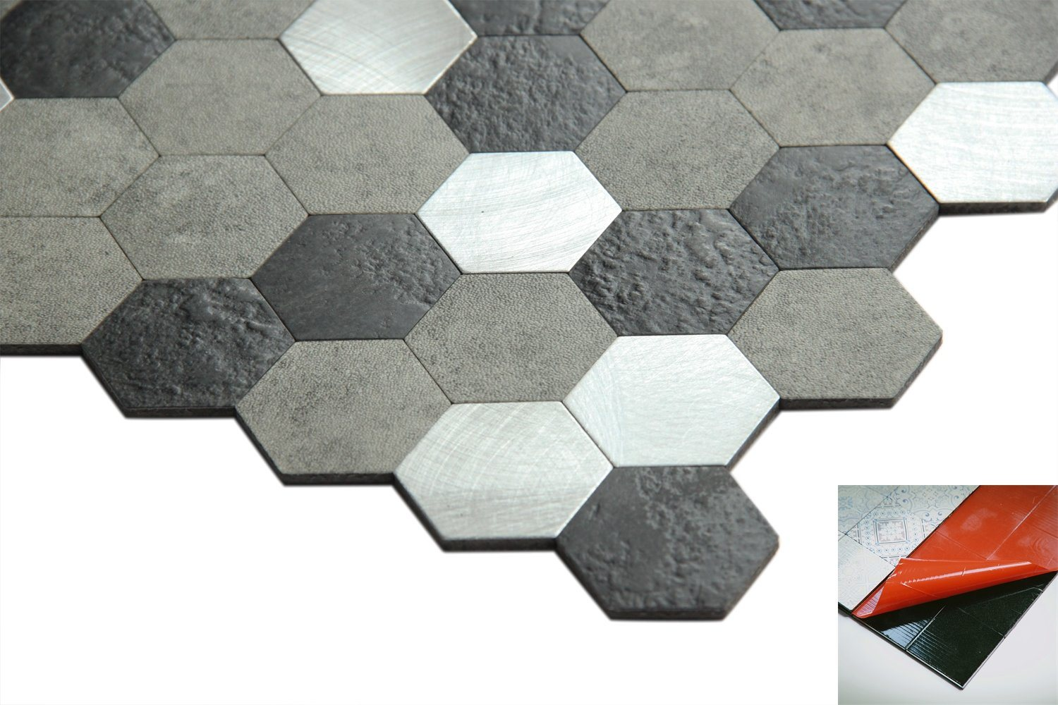 Hot Item Marble Looking Hexagon Pvc Self Stick Wall Tile Wallpaper For Kitchen