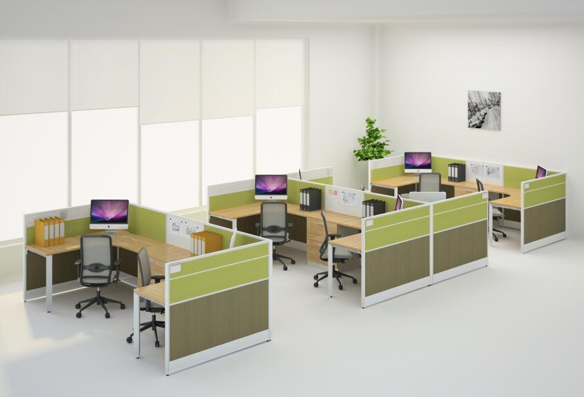 Modern Office Cubicles Workstation Desk For 4 Persons With Cabinets